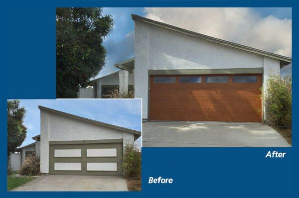 Before and after photo of a garage door installation